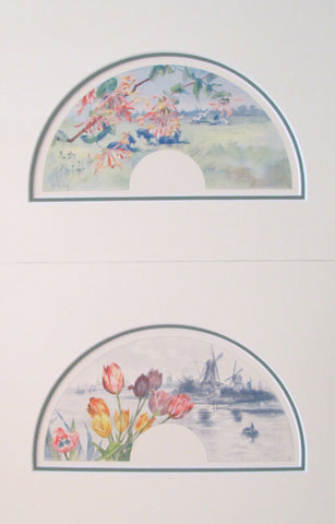 1870's Vintage French Fan Design - Flowers & Windmills (Matted - Set of 2)