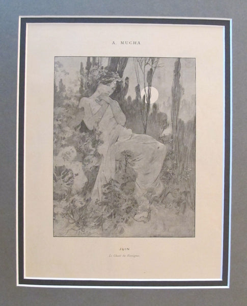 1899 Original Cocorico Illustration - June (La Chant du Rossignol) - Mucha