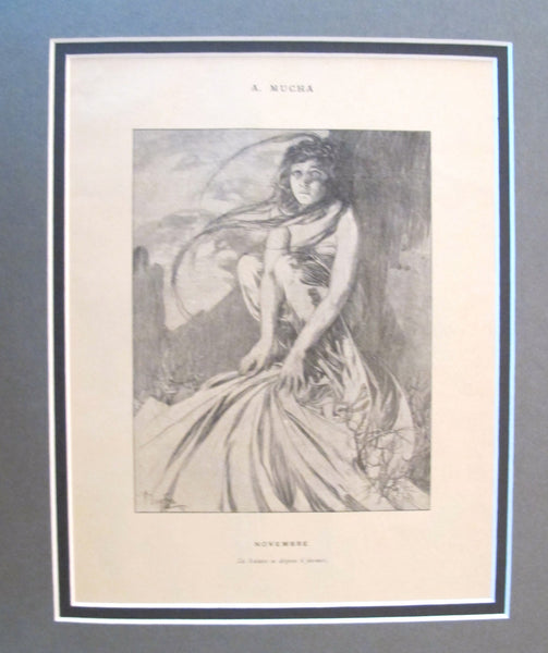 1899 Original Cocorico Illustration - November (Le nature se dispose) - Mucha