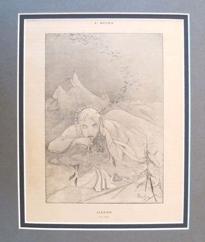 1899 Original Cocorico Illustration - January (La Neige) - Mucha