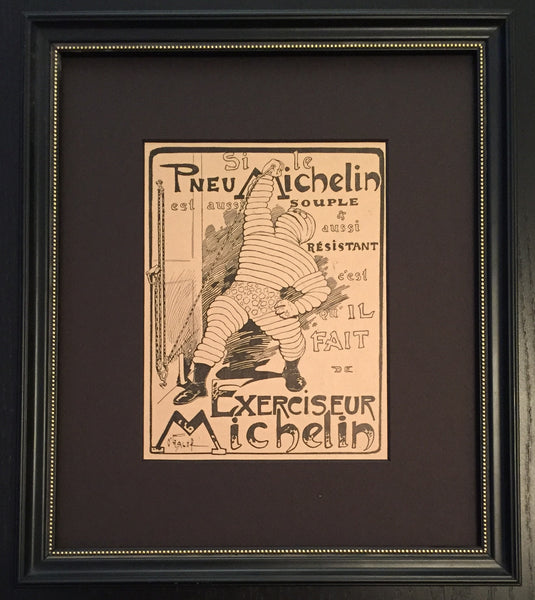 1920s Framed French Michelin Car Tires Advertisement