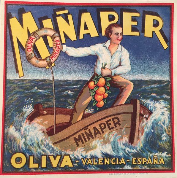 1930-40 Original Vintage Spanish Label, Miñaper Sailor