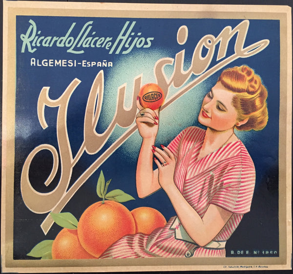 1930 - 1940 Original Vintage Spanish Label - Ilusion by The Ortega Company