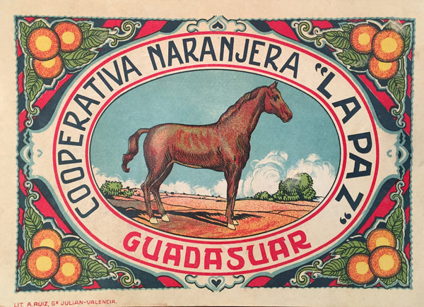 1930-40 Original Vintage Spanish Fruit Label, Guadasuar Horse