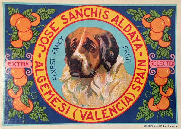 1930-40 Original Vintage Spanish Label, Handsome Hound