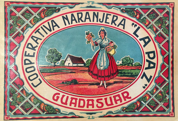 1930-40 Original Vintage Spanish Label, Guadasuar Woman