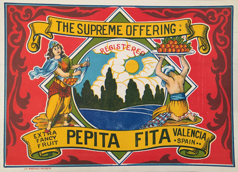 1930-40 Original Vintage Spanish Label, The Supreme Offering