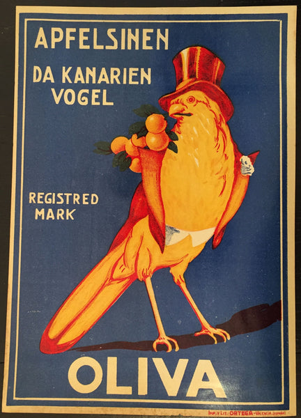 1930-40 Original Vintage Spanish Label, Apfelsinen Bird
