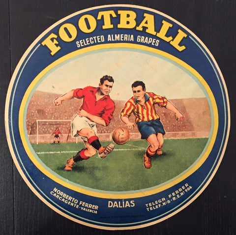1930-40 Original Vintage Spanish Label, Football