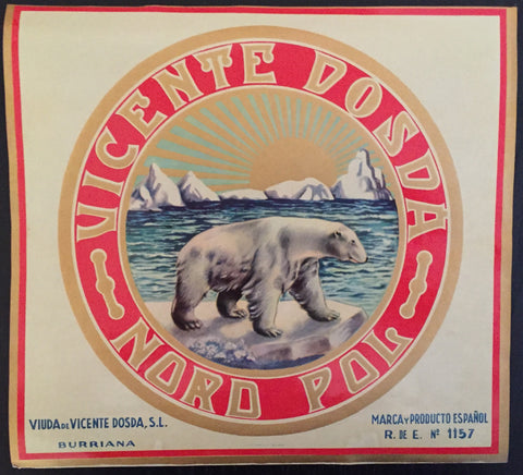1930-40 Original Vintage Spanish Label, Polar Bear