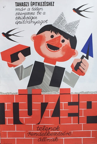 1966 Original Hungarian Poster, Tuzep Building Supplies