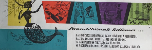 "1958 Original Hungarian Poster, ""Sunbathing is Pleasant, If ..."""