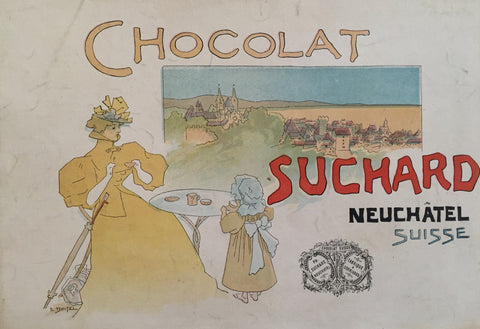 1910 Original Swiss Poster, Chocolat Suchard