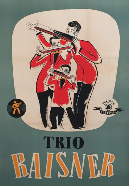 1950s Original German Trio Raisner Harmonica Poster