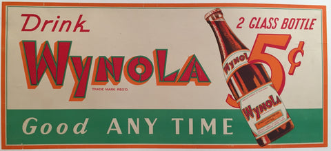 1940s Original Vintage Wynola Cola Advertising Poster - Unknown