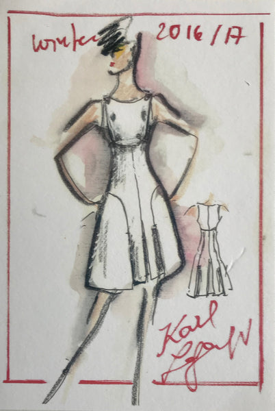 2016/2017 Original Fashion Sketch Poster, Winter Collection - Karl Lagerfeld (Woman in Hat + Dress)
