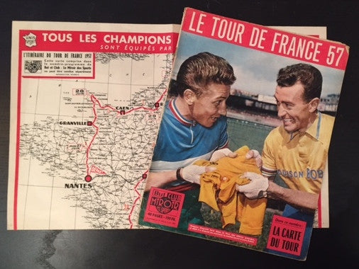 1957 Original French Bicycle Poster, Tour de France (Map and Magazine)