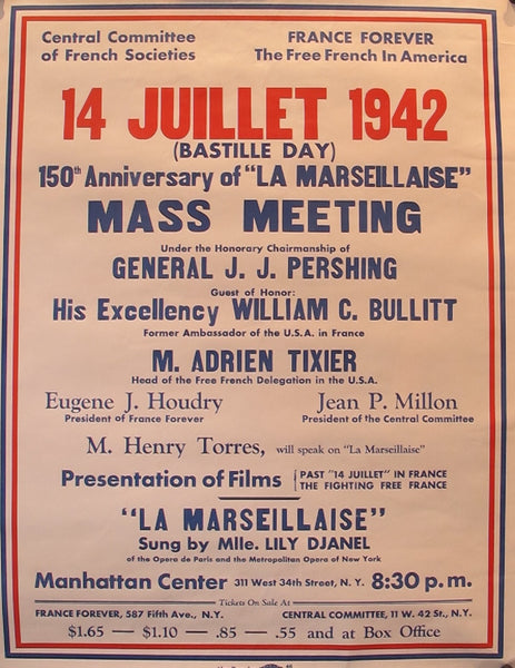 "1942 Original French WWII Poster, 150th Anniversary of ""La Marseillaise"""