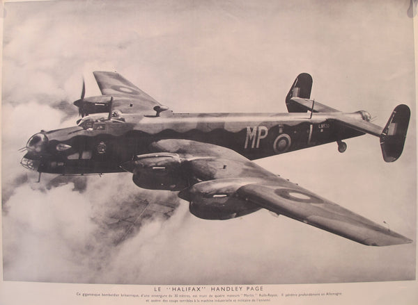 "1940-1945 Original French WWII Poster, Plane / Le ""Halifax"" Handley Page"