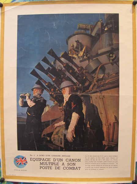 1940-1945 Original French WWII Poster, Victoire / Equipage d'un Cannon