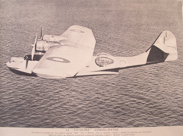 "1940-1945 Original French WWII Poster, Plane / Le ""Catalina"" Consolidated"