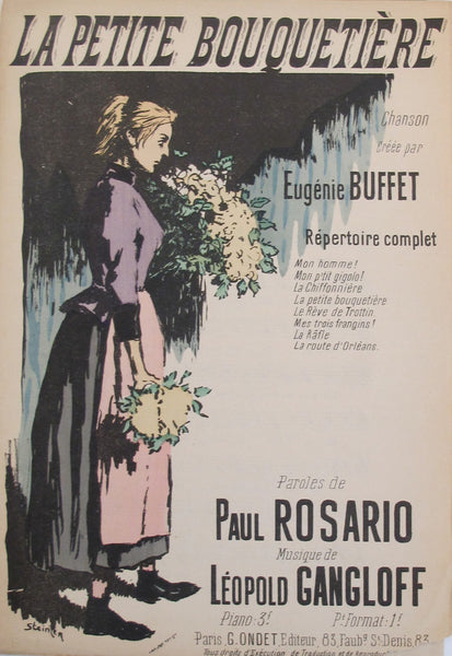 1900 French Art Nouveau Song Sheet, Eugenie Buffet - Steinlen