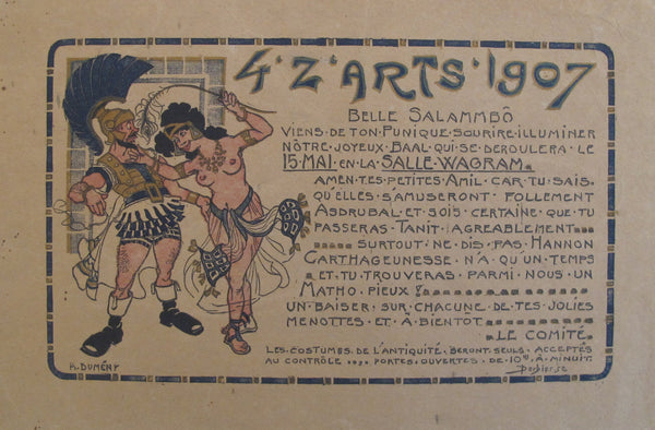 1907 Original Erotic 4'ZArt Party Invitation - Anonymous