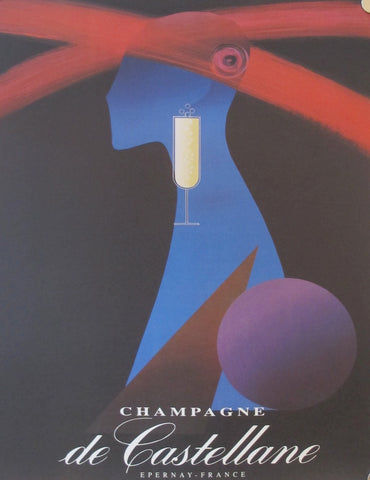 1980's French Art Deco Champagne Poster, Champagne de Castellane (reproduction), by Alain Gauthier