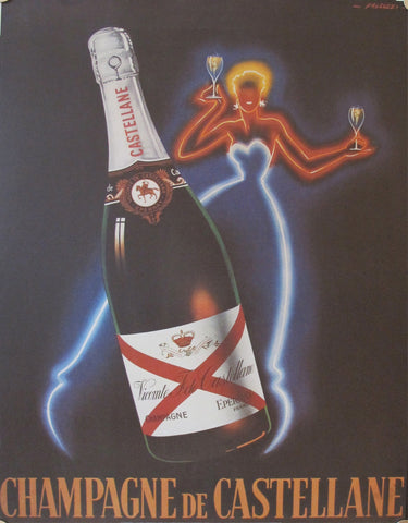 1980's French Champagne Poster, Champagne de Castellane  (reproduction), by Faliucci