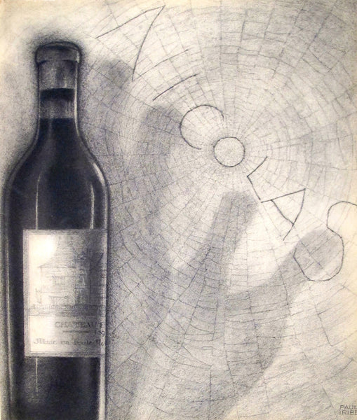 1930s Original French Art Deco Print, Nicolas, Bottle with Cobwebs - Iribe