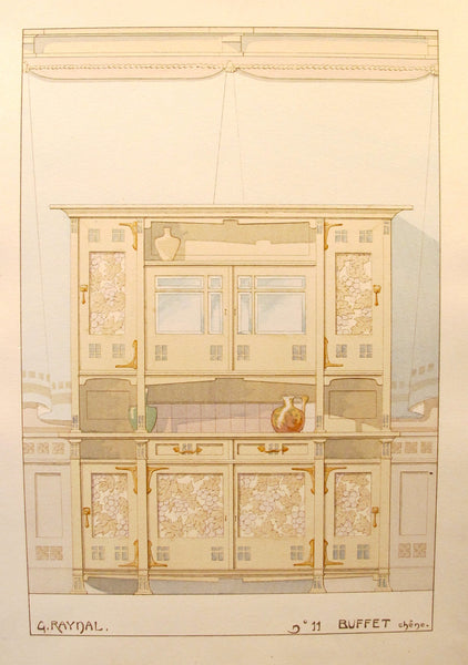 1900 French Art Nouveau Interior Design Print, Pl. 11, Buffet- G. Raynal