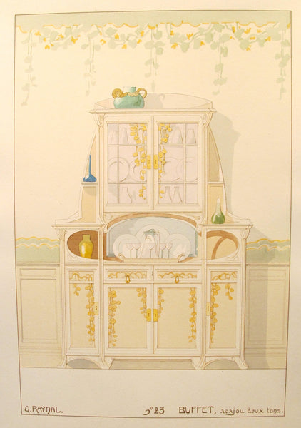 1900 French Art Nouveau Interior Design Print, Pl. 23, Buffet- G. Raynal
