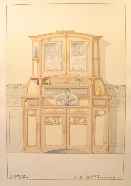 1900 French Art Nouveau Interior Design Print, Pl. 28, Buffet- G. Raynal