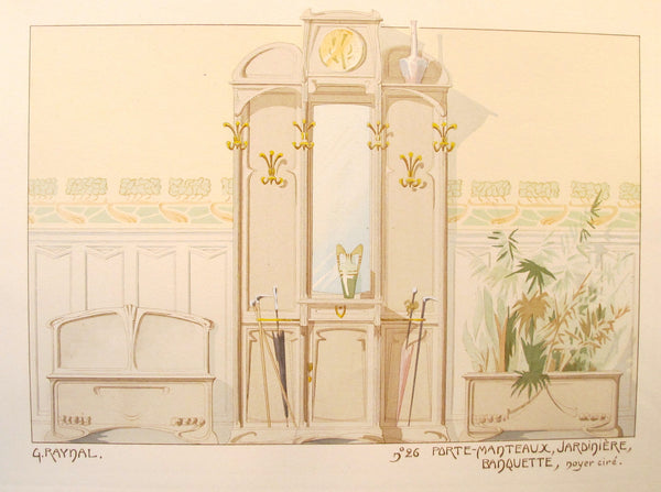 1900 French Art Nouveau Interior Design Print, Pl. 26,  Coatrack, Bench- G. Raynal