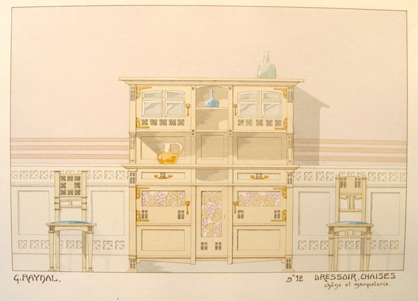 1900 French Art Nouveau Interior Design Print, Pl. 12,  Sideboard, Chair - G. Raynal