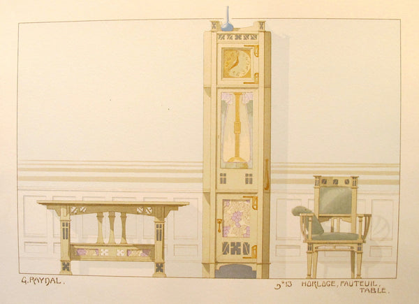 1900 French Art Nouveau Interior Design Print, Pl. 13,  Clock, Chair, Table - G. Raynal