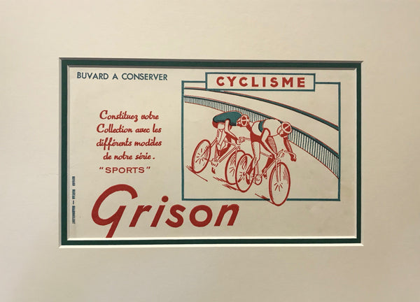 1940s Original Vintage French Blotter, Grison Cyclisme (Matted)