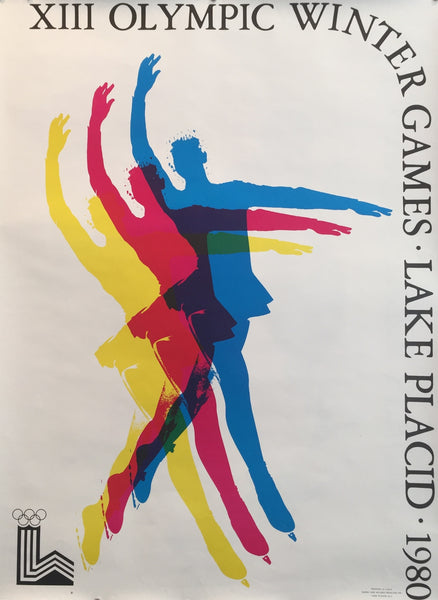 1980 Original Vintage Lake Placid Winter Olympics Poster, Skating