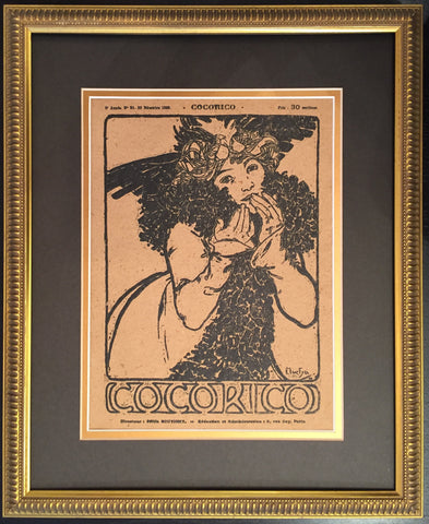 1899 Original Cocorico Cover Alphonse Mucha, Girl in Gold