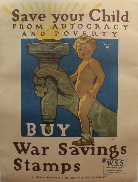 1918 Original American WWI Propaganda Poster, Save Your Child (Large)