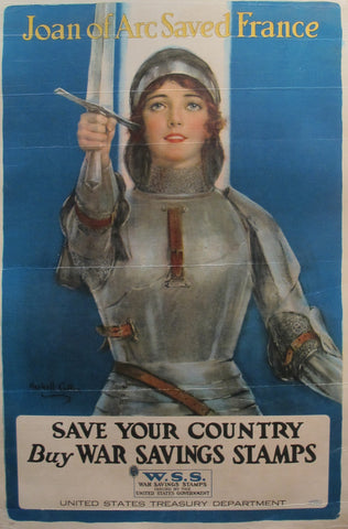 1918 Vintage American WW1 Poster, Joan of Arc Saved France