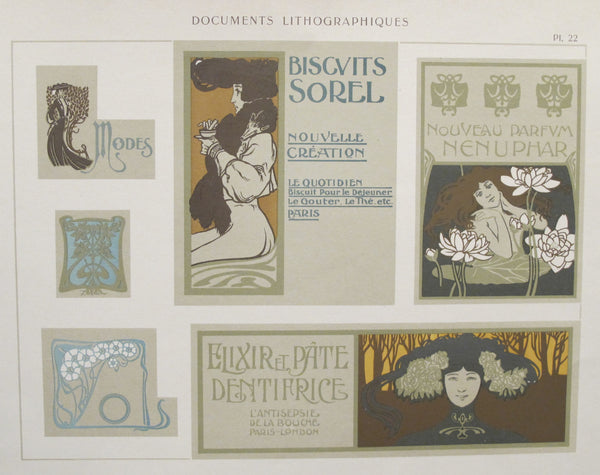 1900c. Belle Epoque Design Sheet, Documents Lithographiques Plate #22