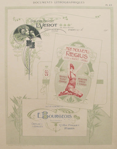 1900c. Belle Epoque Design Sheet, Documents Lithographiques Plate #40