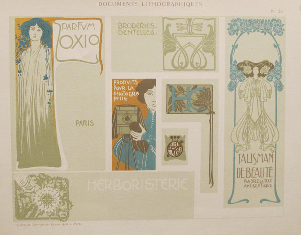 1900c. Belle Epoque Design Sheet, Documents Lithographiques Plate #25