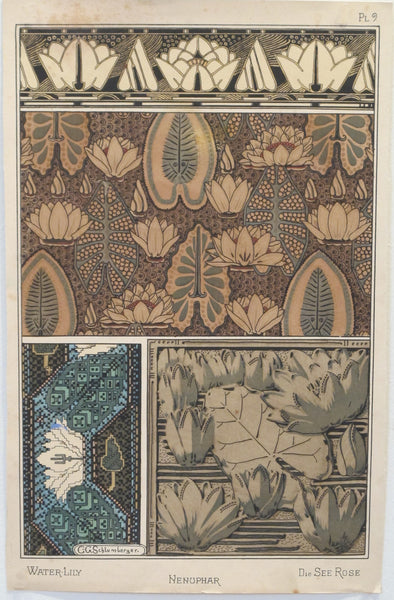 1896 French Decorator Pochoir, Water-Lily (plate 9)
