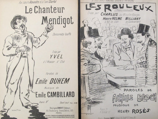 1900 Pair of Steinlen Song Sheets - Les Rouleux, Le Chanteur Mendigot