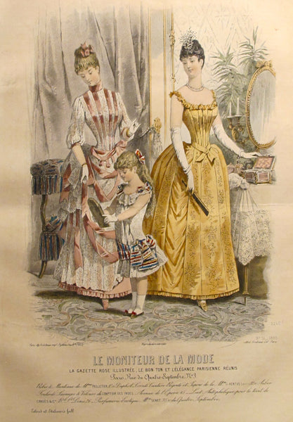 1885 Moniteur de la Mode, Parisian Ladies Fashion (Plate 51-1885)