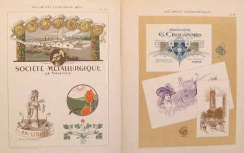 1900c. Belle Epoque Design Sheets, Documents Lithographiques Plate #20 + 36