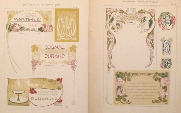 1900c. Belle Epoque Design Sheets, Documents Lithographiques Plate #24 + 19