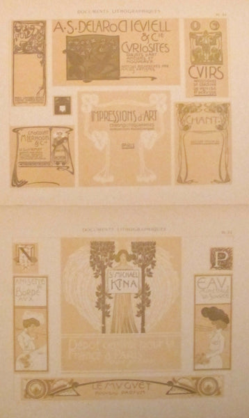 1900c. Belle Epoque Design Sheets, Documents Lithographiques Plate #34 + 32